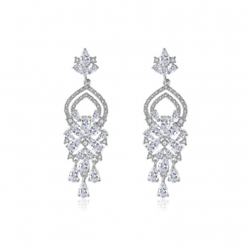 Wedding earrings hanging with crystals, stainless steel KSL62S